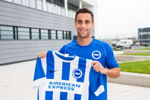 Sam Baldock with his new team shirt