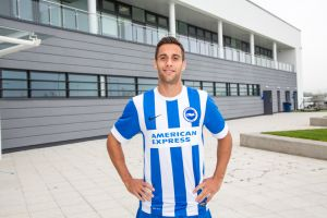 Sam Baldock in his new team shirt