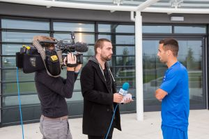 Sam Baldock being interviewed